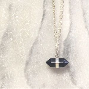 Crystal Geode Silver Pendent Necklace Dainty